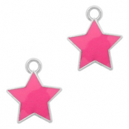 Basic Quality metalen bedels ster Zilver-Fuchsia