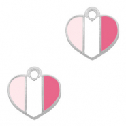 Basic Quality metalen bedels hart Zilver-Fuchsia white pink