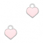 Basic Quality metalen bedels hart Zilver-Pink
