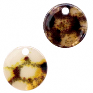 Resin hangers rond 19mm snake shiny Yellow-brown