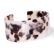 Trendy armbanden resin Off white-brown