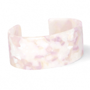 Trendy armbanden resin White-pink