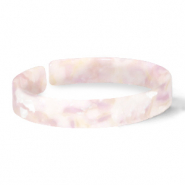 Trendy armbanden resin loose fit White-pink