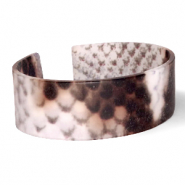 Trendy armbanden resin snake matt Brown-grey
