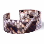 Trendy armbanden resin snake shiny Brown-grey