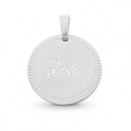 "Roestvrij stalen (RVS) Stainless steel bedels rond 15mm ""love"" Mix & Match Zilver"