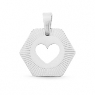 Roestvrij stalen (RVS) Stainless steel bedels hexagon heart Mix & Match Zilver