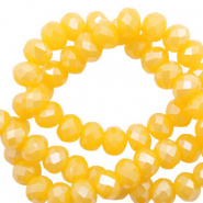 Top Facet kralen 4x3 mm disc Freesia golden yellow opal-pearl shine coating