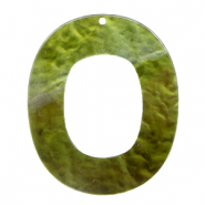 Resin hangers ovaal 48x40mm Olive green