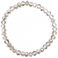 Top facet armbandjes 6x4mm Greige crystal-pearl shine coating