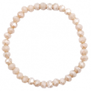 Top facet armbandjes 6x4mm Champagne greige opal-pearl shine coating