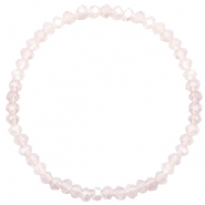 Top facet armbandjes 4x3mm Champagne greige half opal-pearl shine coating