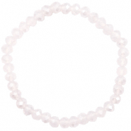 Top facet armbandjes 6x4mm Light lavender pink opal-pearl shine coating