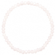 Top facet armbandjes 4x3mm Light lavender pink opal-pearl shine coating