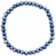 Top facet armbandjes 6x4mm Crown blue-pearl shine coating
