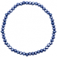 Top facet armbandjes 4x3mm Crown blue-pearl shine coating
