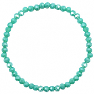 Top facet armbandjes 4x3mm Turquoise green-pearl shine coating