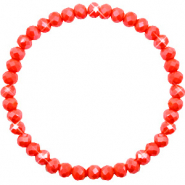 Top facet armbandjes 6x4mm Coral red-pearl shine coating
