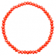 Top facet armbandjes 4x3mm Coral red-pearl shine coating