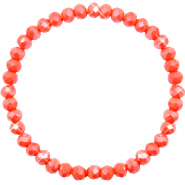 Top facet armbandjes 6x4mm Coral orange-pearl shine coating