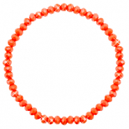 Top facet armbandjes 4x3mm Coral orange-pearl shine coating