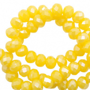 Top Facet kralen 6x4 mm disc Freesia yellow opal-pearl shine coating