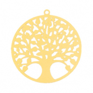 Hangers bohemian tree of life 25mm Goud (nikkelvrij)