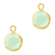 DQ Hangers van crystal glas rond 6mm Gold-Powder opal green