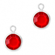 DQ Hangers van crystal glas rond 6mm Silver-Light siam red