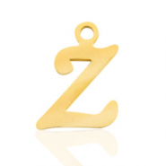 Roestvrij stalen (RVS) Stainless steel bedels initial Z Goud
