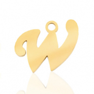 Roestvrij stalen (RVS) Stainless steel bedels initial W Goud