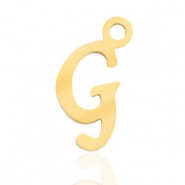 Roestvrij stalen (RVS) Stainless steel bedels initial G Goud