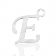 Roestvrij stalen (RVS) Stainless steel bedels initial E Zilver