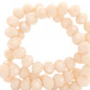 Top Facet kralen 4x3 mm disc Delicacy peach beige-pearl shine coating