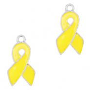Basic quality metalen bedels ribbon Zilver-yellow
