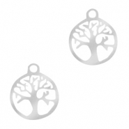 Roestvrij stalen (RVS) Stainless steel bedels tree of life 10mm Zilver