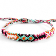Trendy armbanden/enkelbandjes Brazilian style| One size fits all Multicolour orange-pink