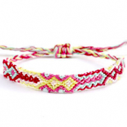 Trendy armbanden/enkelbandjes Brazilian style| One size fits all Multicolour yellow-pink