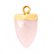 Natuursteen hangers tand Icy pink-gold