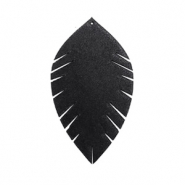 Imi leer hangers leaf small Black