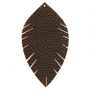 Imi leer hangers leaf large Dark chocolate brown