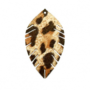 Imi leer hangers leaf small leopard Beige-brown