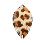 Imi leer hangers leaf small leopard Beige-red brown