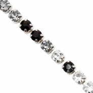 Strass chain Black crystal-silver