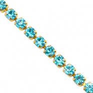 Strass chain Turquoise blue-gold
