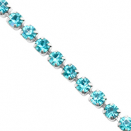 Strass chain Turquoise blue-silver