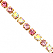 Strass chain Pink crystal AB-gold