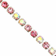 Strass chain Pink crystal AB-silver