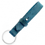 Cuoio sleutelhangers leer 15mm Blue wing teal