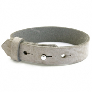 Cuoio armbanden leer 15 mm voor 20 mm cabochon Neutral grey